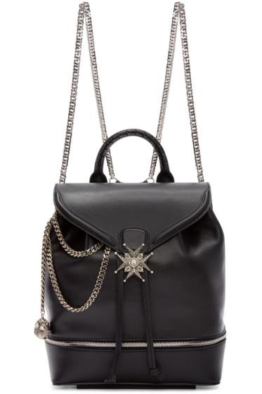 Alexander McQueen - Black Leather Jewelled Cross Backpack