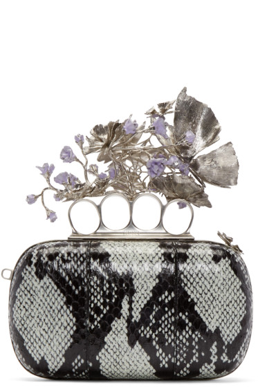 Alexander McQueen - Black & Blue Snakeskin Sweet Pea Knucklebox Clutch
