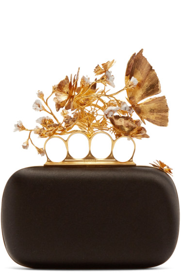 Alexander McQueen - Black Silk Sweet Pea Knucklebox Clutch