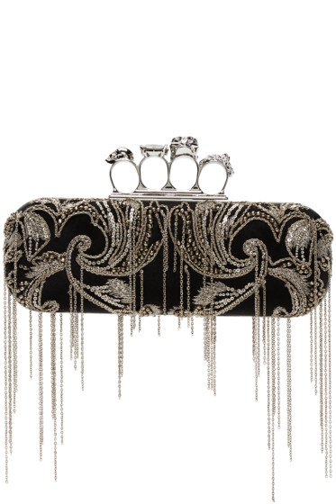 Alexander McQueen - Black Silk Chain Knucklebox Clutch