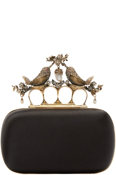 Alexander McQueen - Black Silk Birds Knucklebox Clutch