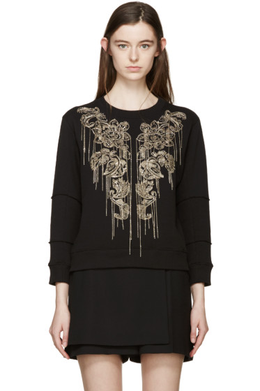 Alexander McQueen - Black Fringed Sequin Pullover
