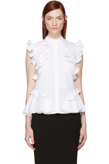Alexander McQueen - White Poplin Ruffled Shirt