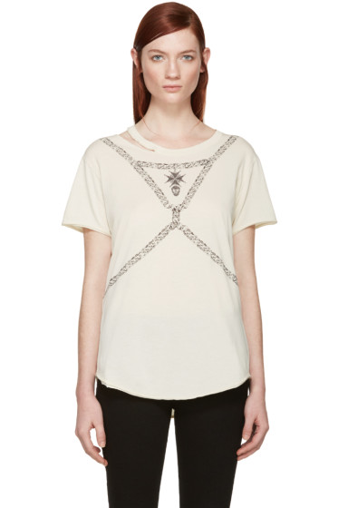 Alexander McQueen - Beige Skull and Chain T-Shirt