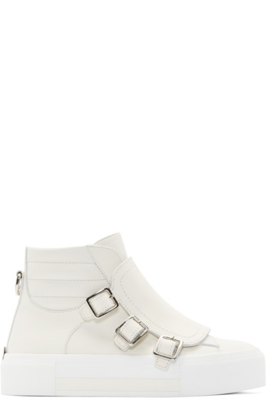 Alexander McQueen - Off-White Triple-Buckle High-Top Sneakers