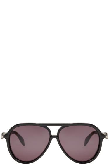 Alexander McQueen - Black Acetate Skull Aviator Sunglasses