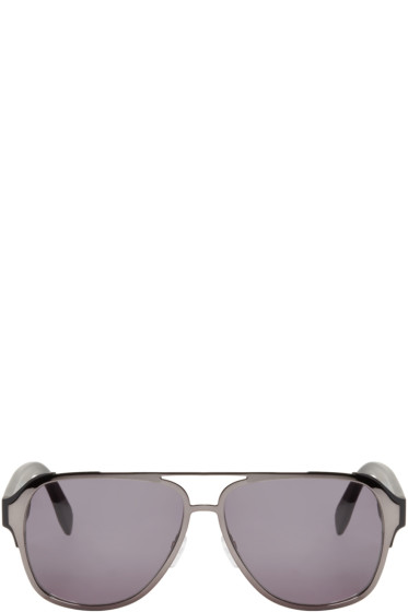 Alexander McQueen - Gunmetal Pilot Aviator Sunglasses