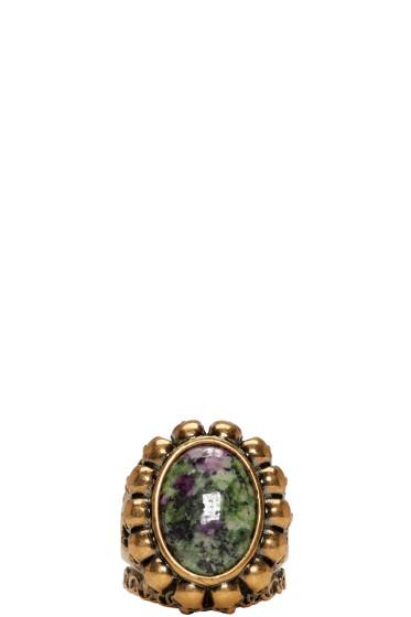 Alexander McQueen - Gold Skull & Bone Ring