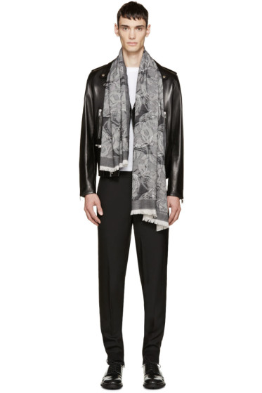 Alexander McQueen - Black & Grey Camouskull Jacquard Scarf