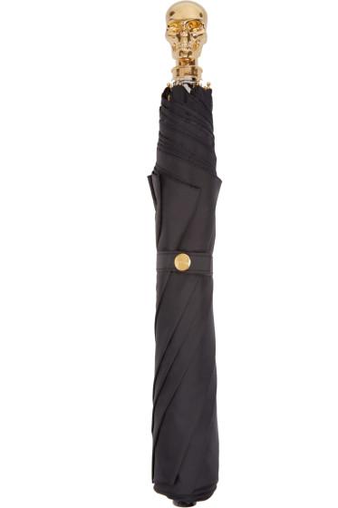 Alexander McQueen - Black & Gold Skull Umbrella