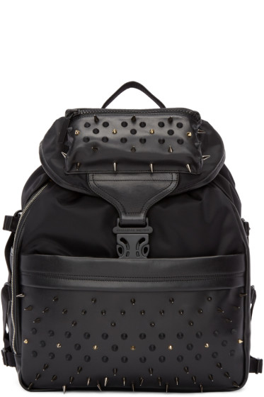 Alexander McQueen - Black Studded Techno Clip Backpack