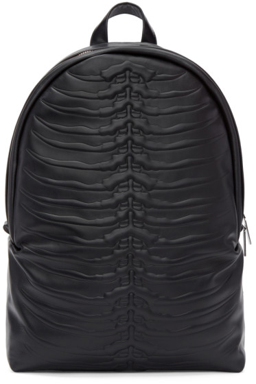 Alexander McQueen - Black Embossed Rib Cage Backpack