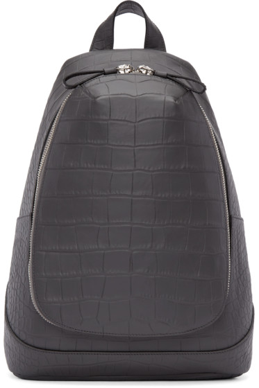 Alexander McQueen - Grey Croc-Embossed Leather Backpack