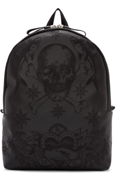 Alexander McQueen - Black Embroidered Skull Backpack