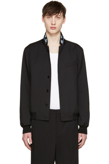 Alexander McQueen - Black Embroidered Collar Bomber Jacket