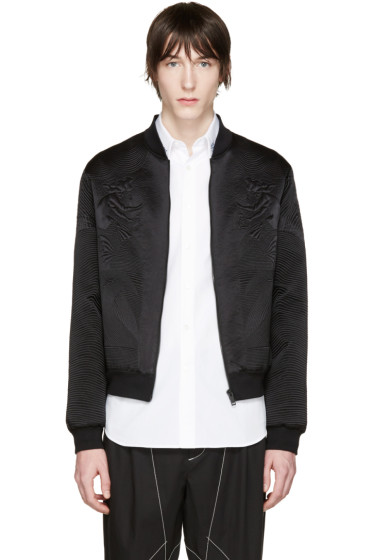 Alexander McQueen - Black Silk Embroidered Bomber Jacket