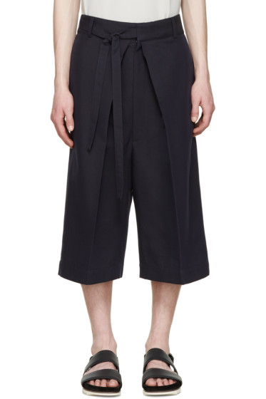 Alexander McQueen - Navy Pleated Shorts