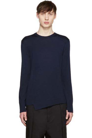 Alexander McQueen - Navy Wool Asymmetric Sweater