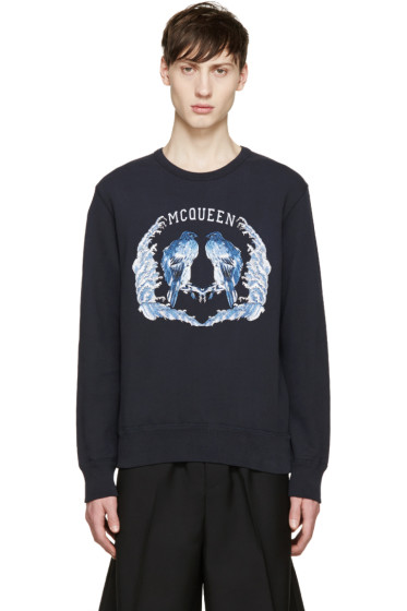 Alexander McQueen - Blue Embroidered Birds Sweatshirt