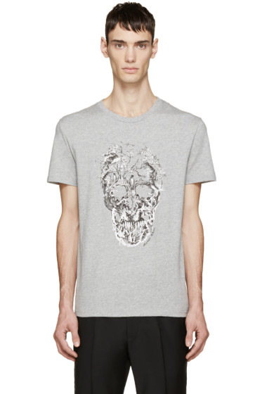 Alexander McQueen - Grey Bird Skull T-Shirt