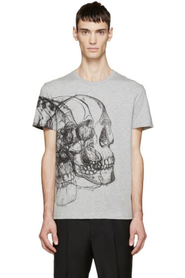 Alexander McQueen - Grey Best Skulls T-Shirt