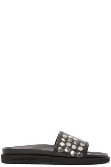 Alexander McQueen - Black Leather Studded Slide Sandals
