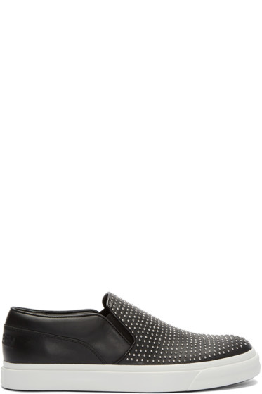 Alexander McQueen - Black Studded Slip-On Sneakers