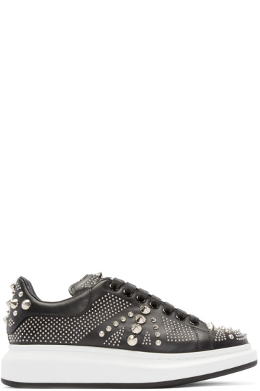 Alexander McQueen - Black Leather Studded Low-Top Sneakers