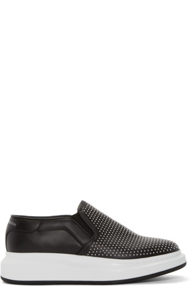 Alexander McQueen - Black Studded Larry Slip-On Sneakers