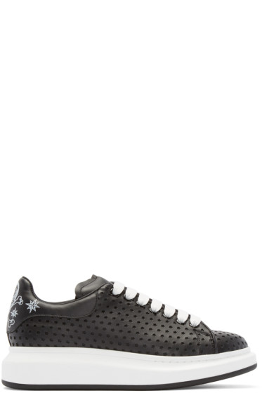 Alexander McQueen - Black Leather Perforated Star Low-Top Sneakers