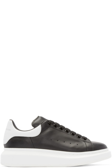 Alexander McQueen - Black & White Leather Low-Top Sneakers
