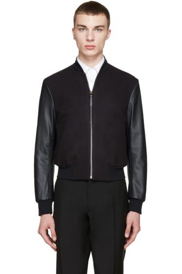 Paul Smith - Navy Wool & Leather Bomber Jacket