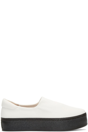 Opening Ceremony - White & Black Slip-On Platform Sneakers