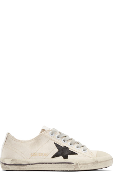 Golden Goose - White Canvas V-Star Sneakers