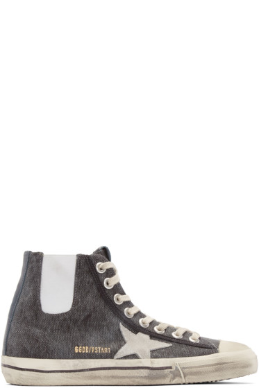 Golden Goose - Grey Canvas V-Star Sneakers