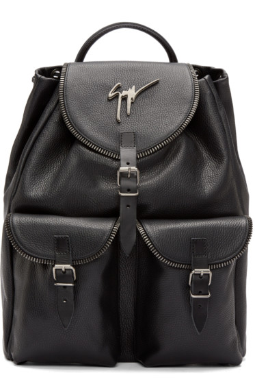 Giuseppe Zanotti - Black Zip Trim Backpack