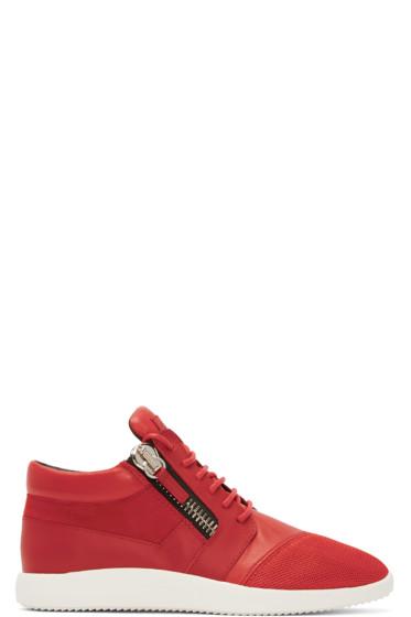 Giuseppe Zanotti - Red Leather & Mesh Megatron Sneakers