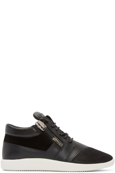 Giuseppe Zanotti - Black Leather & Mesh Megatron Sneakers