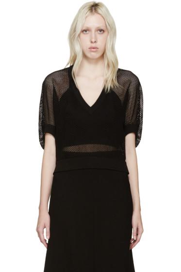 Givenchy - Black Mesh V-Neck Sweater