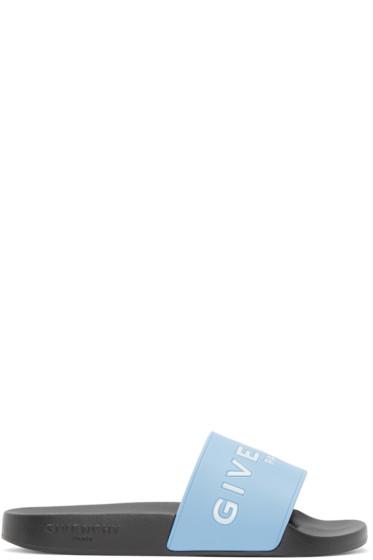 Givenchy - Blue Logo Slide Sandals
