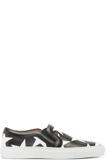 Givenchy - Black & White Star Print Slip-On Sneakers