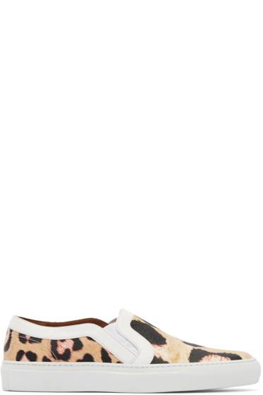 Givenchy - Beige Jaguar Print Slip-On Sneakers