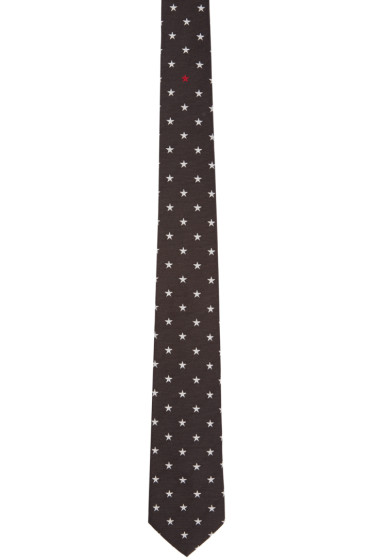 Givenchy - Black Silk Star Print Tie