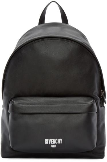Givenchy - Black Leather Logo Backpack