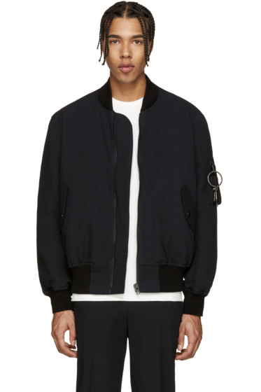 Givenchy - Black Seersucker Bomber Jacket