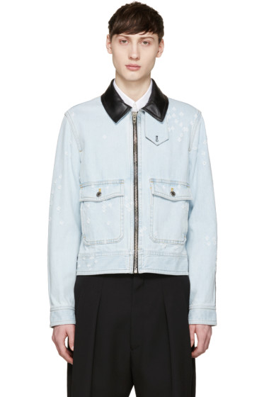 Givenchy - Blue Leather-Trimmed Denim Jacket
