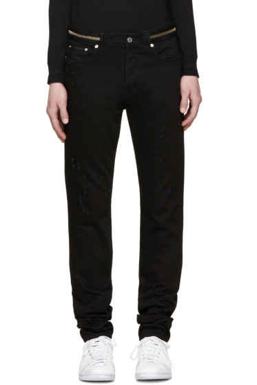 Givenchy - Black Distressed Zipper Jeans