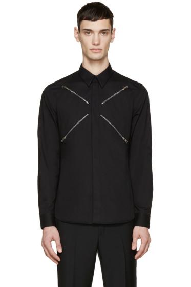 Givenchy - Black Poplin Zipper Shirt
