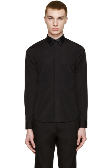 Givenchy - Black Perforated Leather Collar Shirt