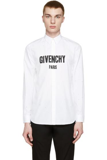 Givenchy - White Distressed Logo Shirt